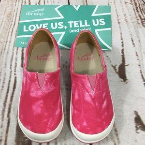 New Girl Dansko Pink Tie Dye Slip On Canvas Shoes